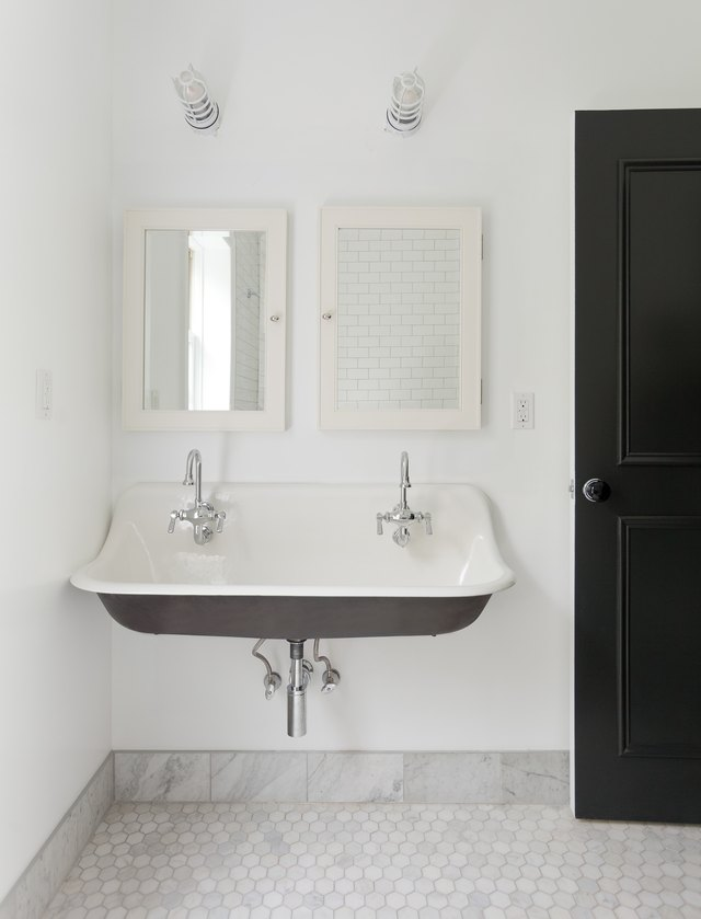 white bathroom marble tile baseboards