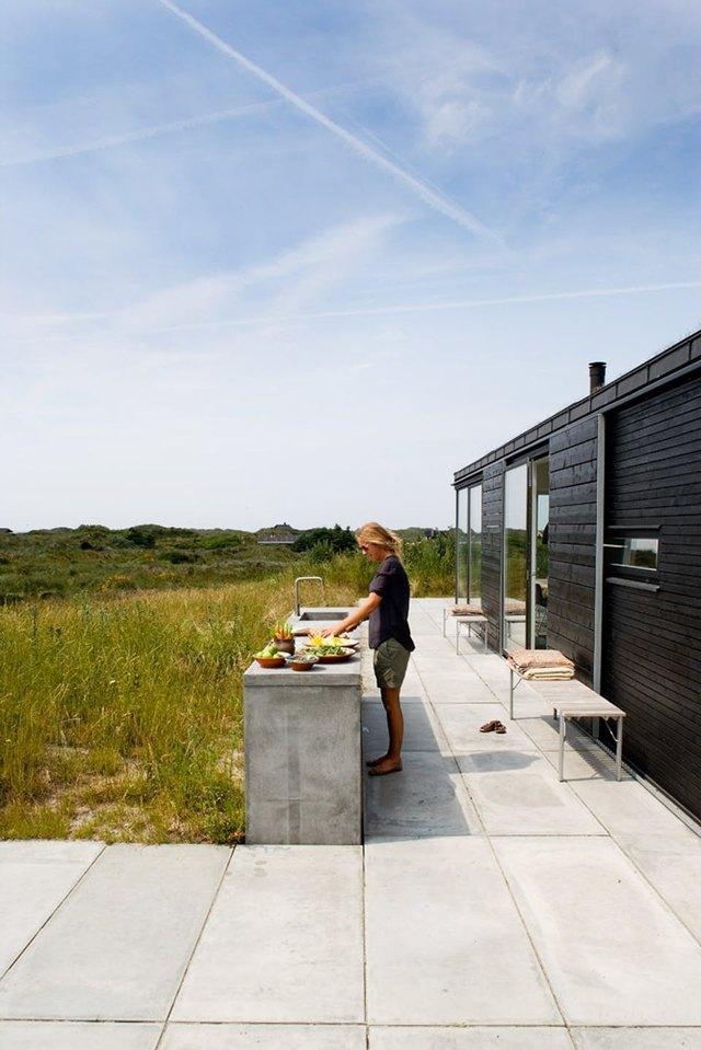 minimal concrete outdoor kitchen