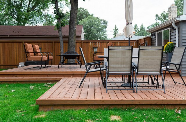 Low patio deck.