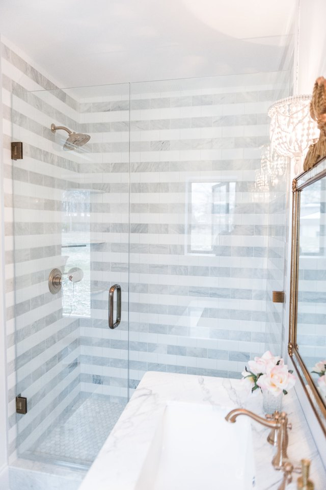 striped gray bathroom
