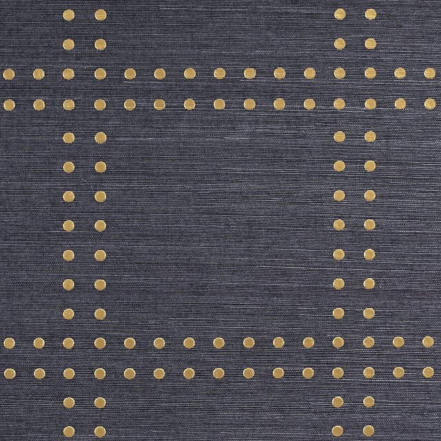 Navy wallpaper with gold rivets