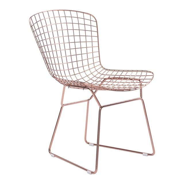 Armless wire dining chair featuring rose gold color