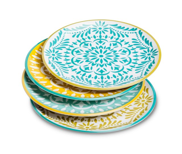 Blue and gold melamine dinner plates