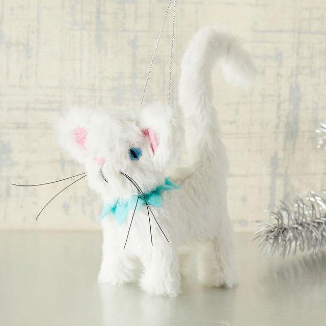 white coffee cat ornament
