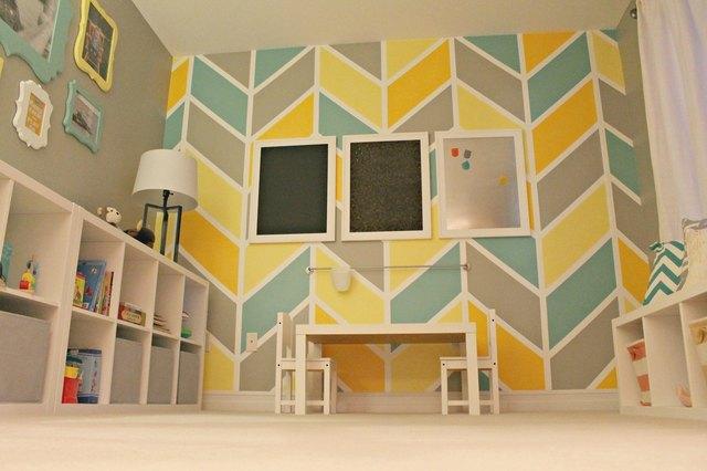 bright patterned walls playroom