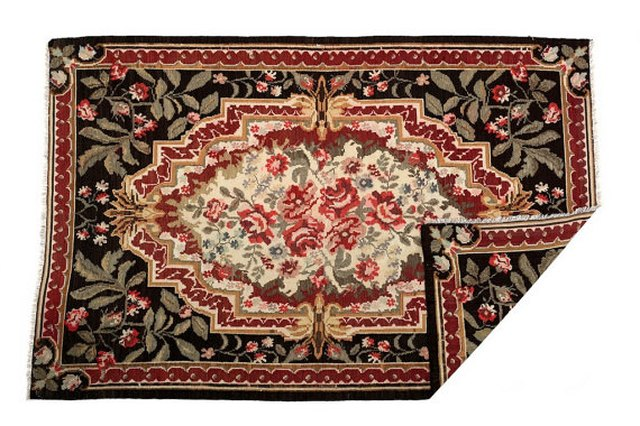 Black and red kilim rug