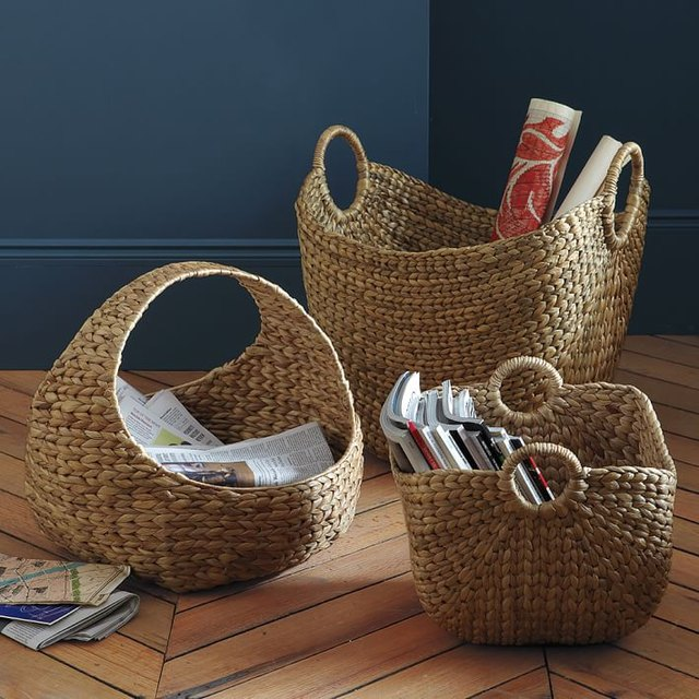 Large curved woven baskets from West Elm