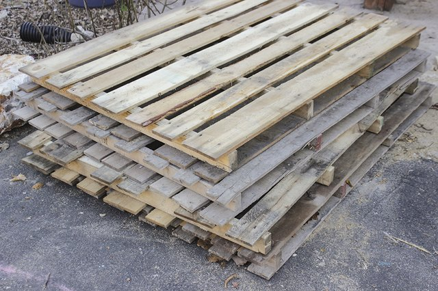 4 stacked pallets