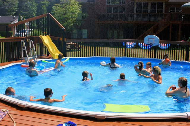 Swimmers at a pool party.
