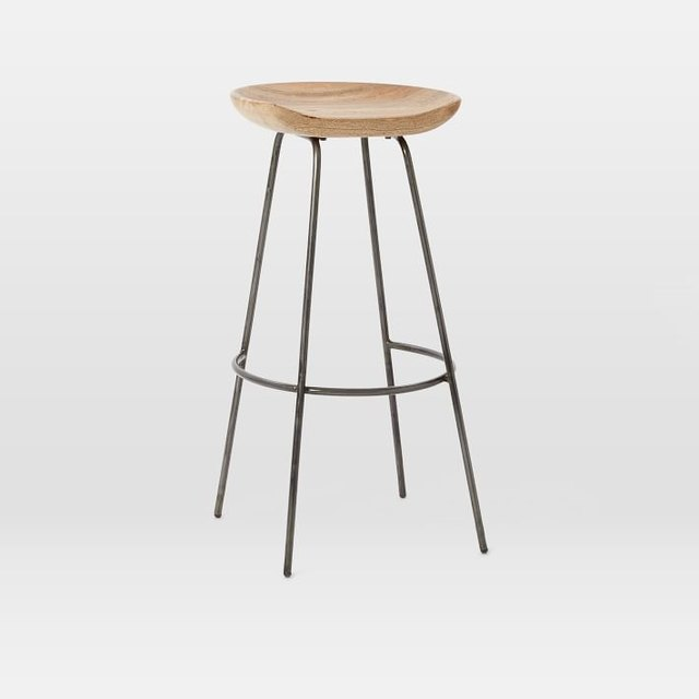 Minimal wire bar stool with wooden seat