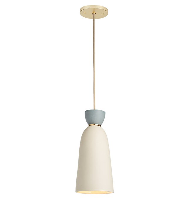 Narrow bell-shaped pendant light with white matte finish and powder blue detail