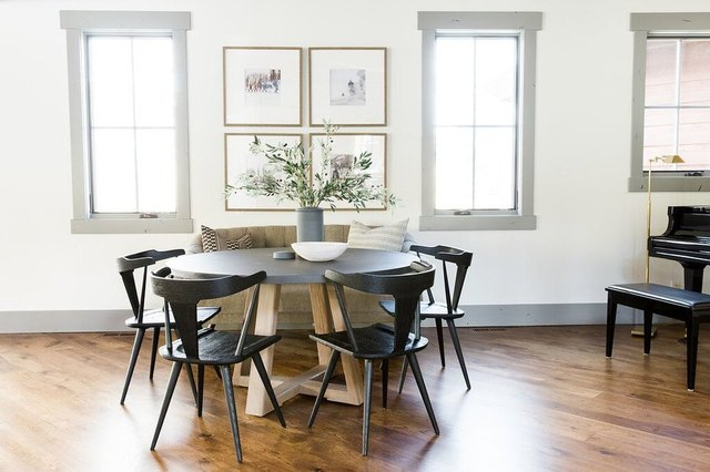 studio mcgee grey painted wood baseboards hardwood floors