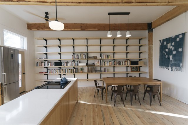 library and kitchen