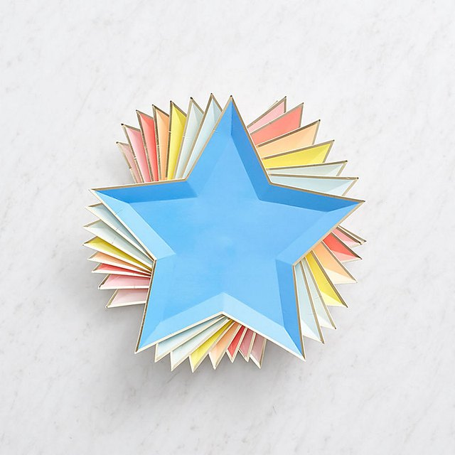 Neon Star Paper Plates