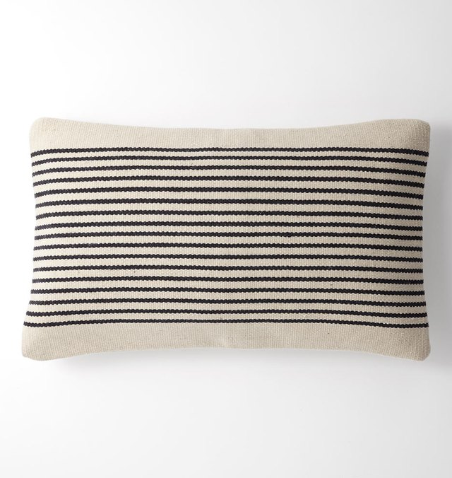 Cream rectangular pillow cover with thin black stripes