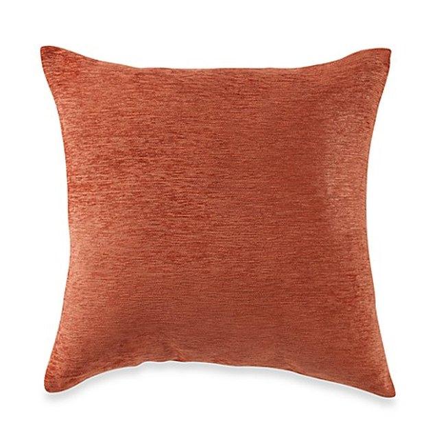 Burnt orange square throw pillow