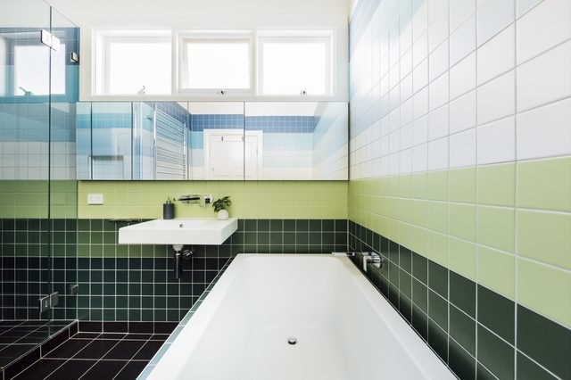 colorblocked tile bathroom