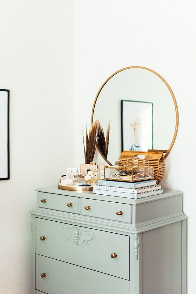 vintage dresser in bedroom