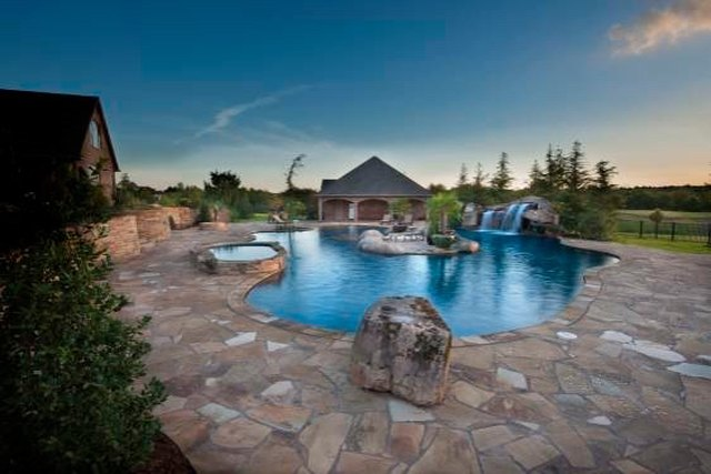 Natural stone pool deck.