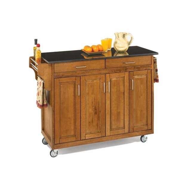Wooden rolling kitchen island with black granite top