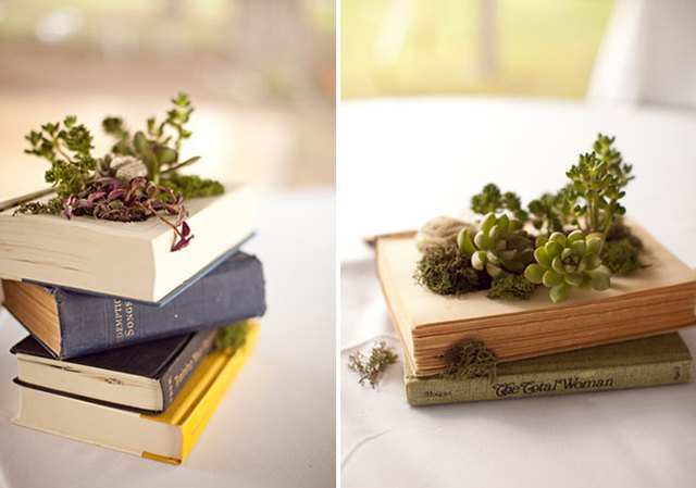 A stack of books cut out and filled with a collection of succulents.