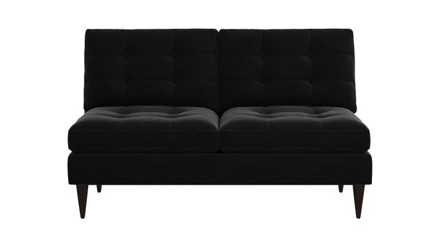Black armless loveseat