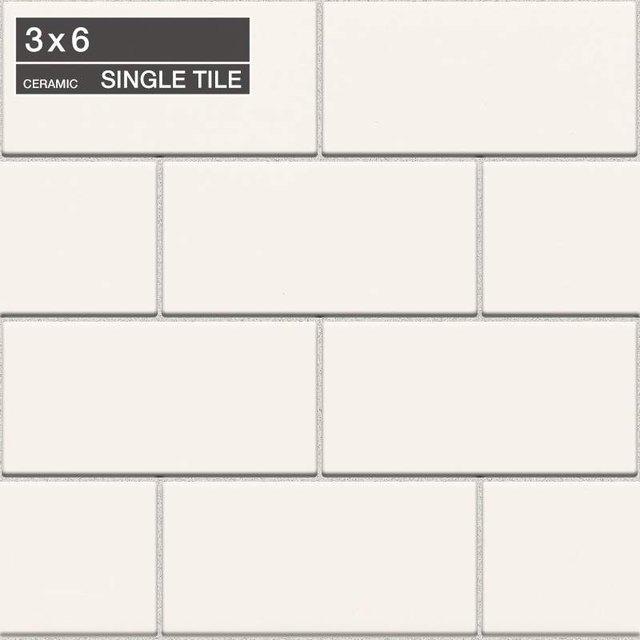 Off-white subway tile