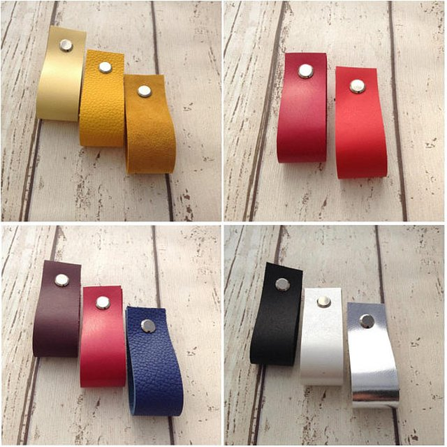 11 handmade leather drawer pulls in various colors