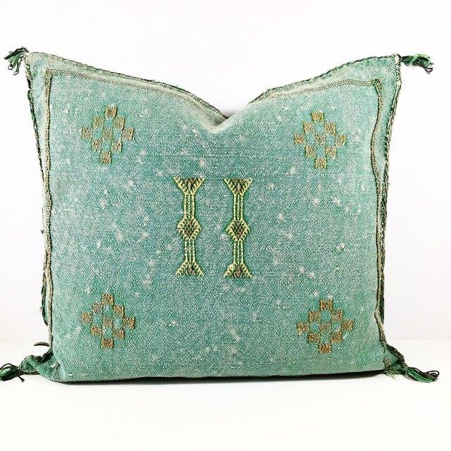Mint silk throw pillow