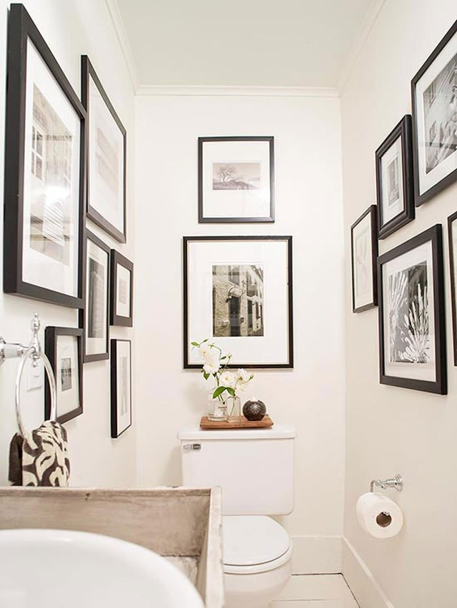 black-and-white photograph bathroom wall gallery