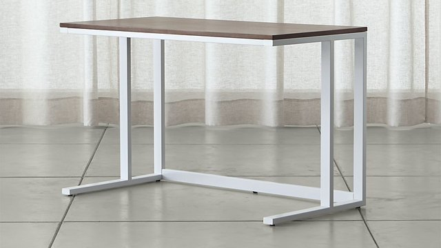 Minimal desk with white frame and walnut wood top