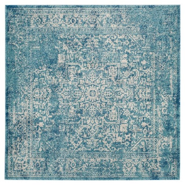 Blue variegated square area rug