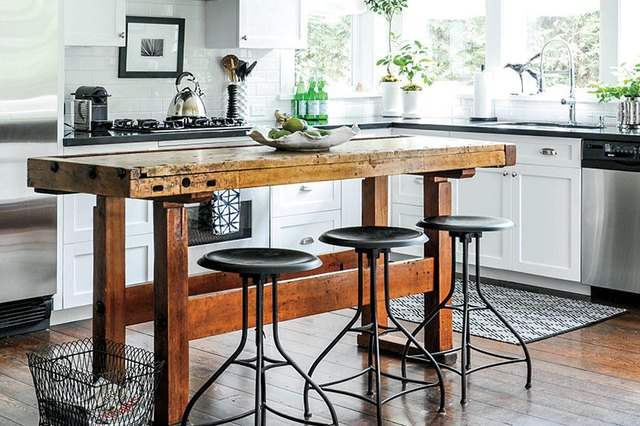 interesting island modern farmhouse kitchen