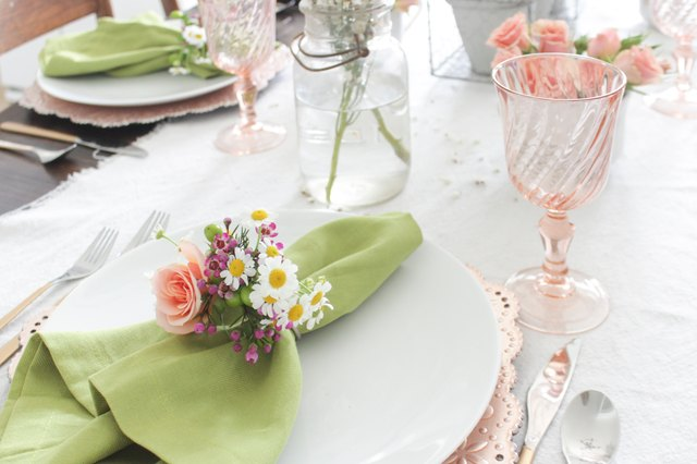 Fresh floral napkin ring with peach and green colors