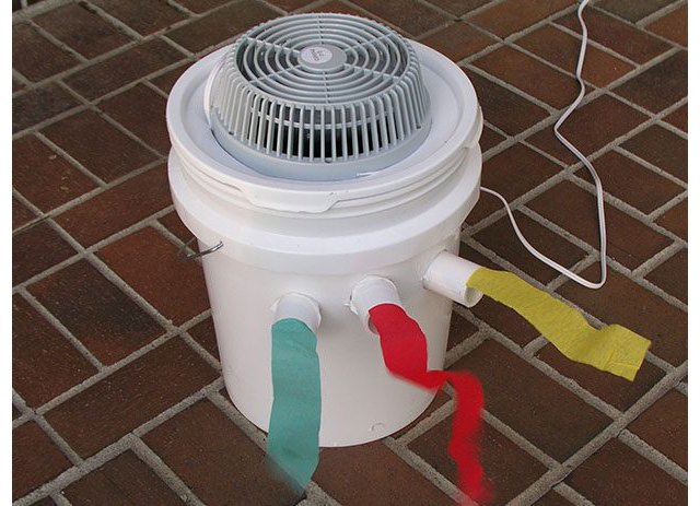 Fan powered air conditioner in a 5-gallon bucket