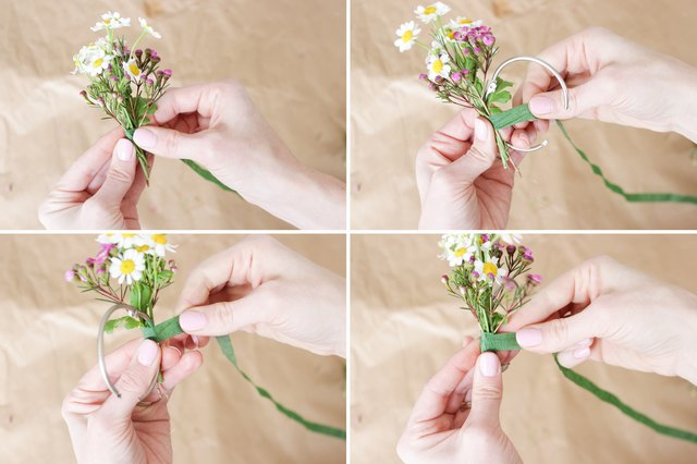 Attaching fever few and wax flower to curtain ring