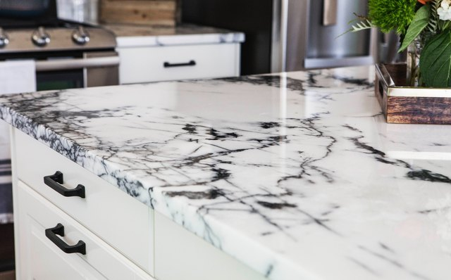 Quartz countertop dyed with a marble finish.