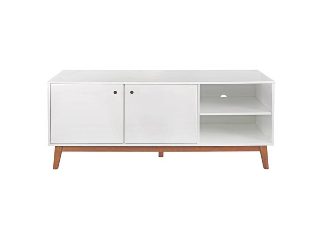 White and wood mid century credenza