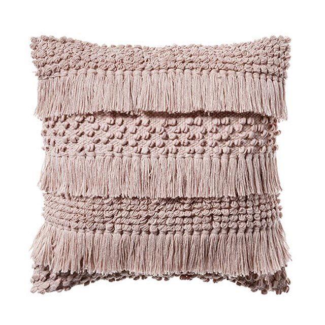 Pink fringed throw pillow