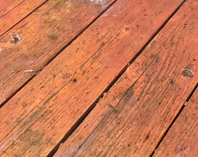 Dry decking boards all showing a uniform color.