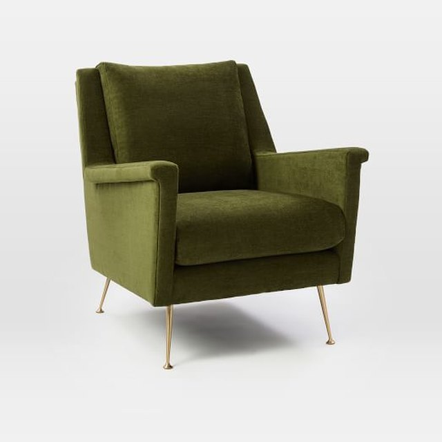Olive green velvet mid-century armchair with long thin brass legs