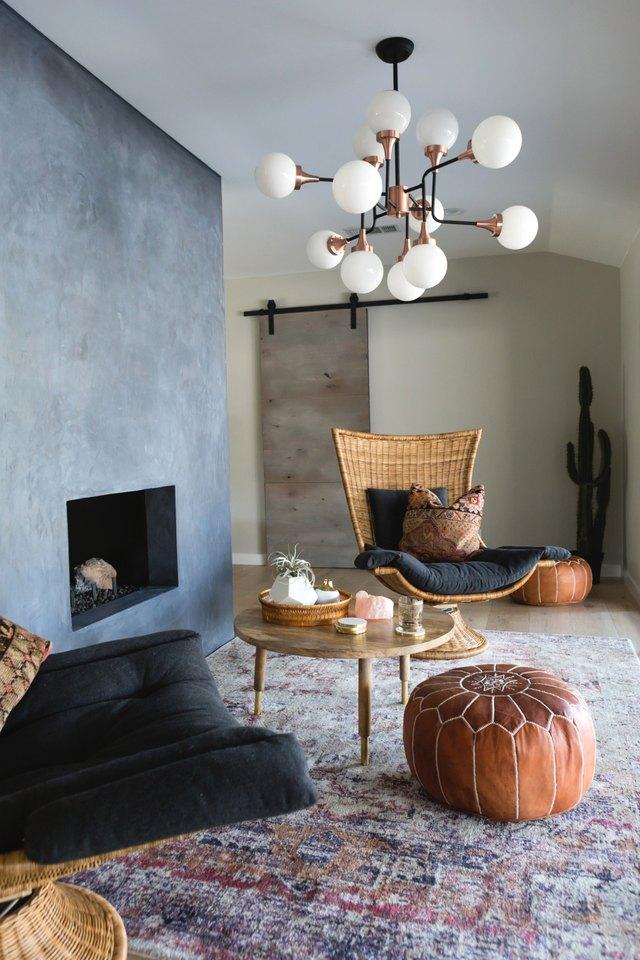 minimal bohemian living room