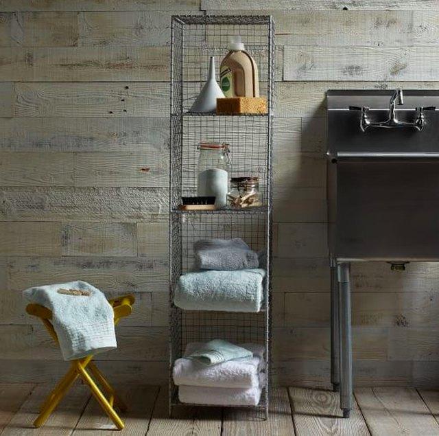 narrow vertical bathroom shelf.