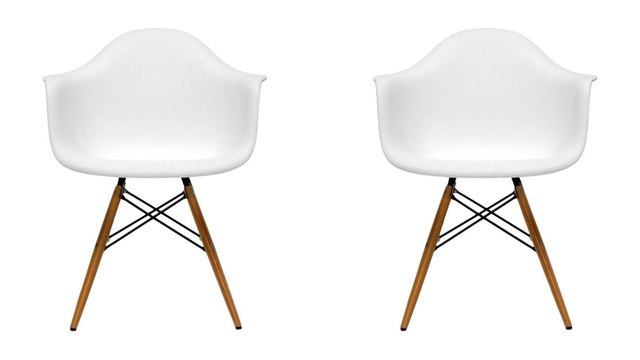 Pair of white mid-century armchairs for dining