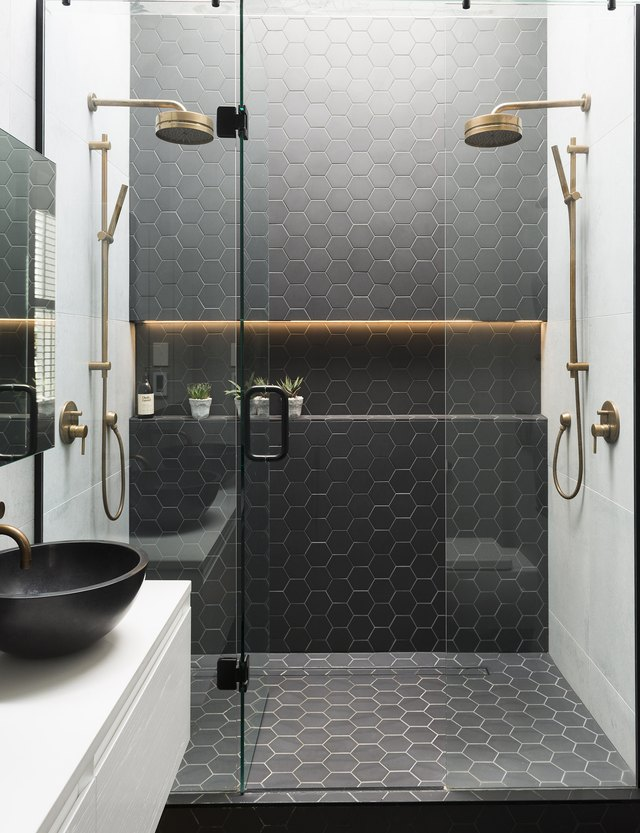 charcoal tile bathroom