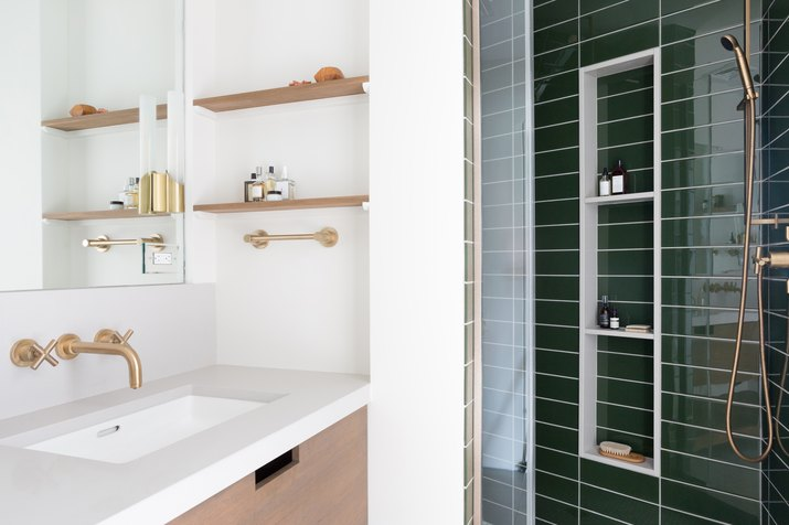 Master Bathroom with green subway tile