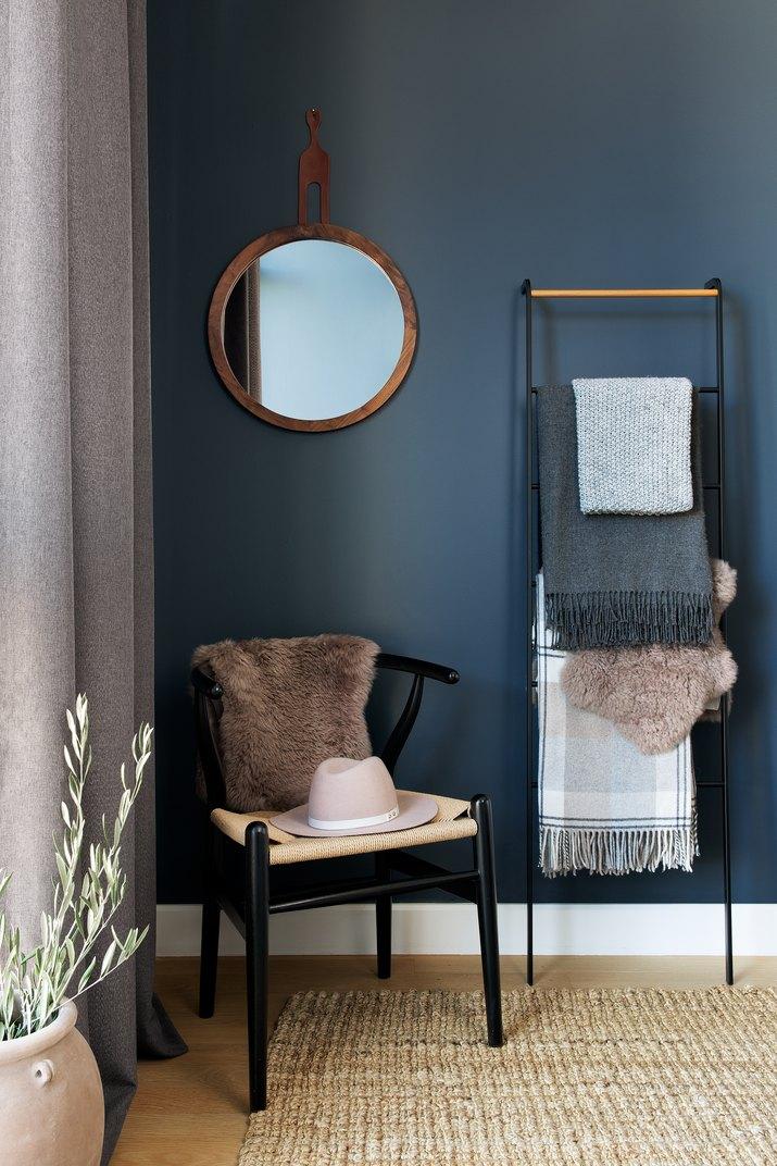 navy blue bedroom corner