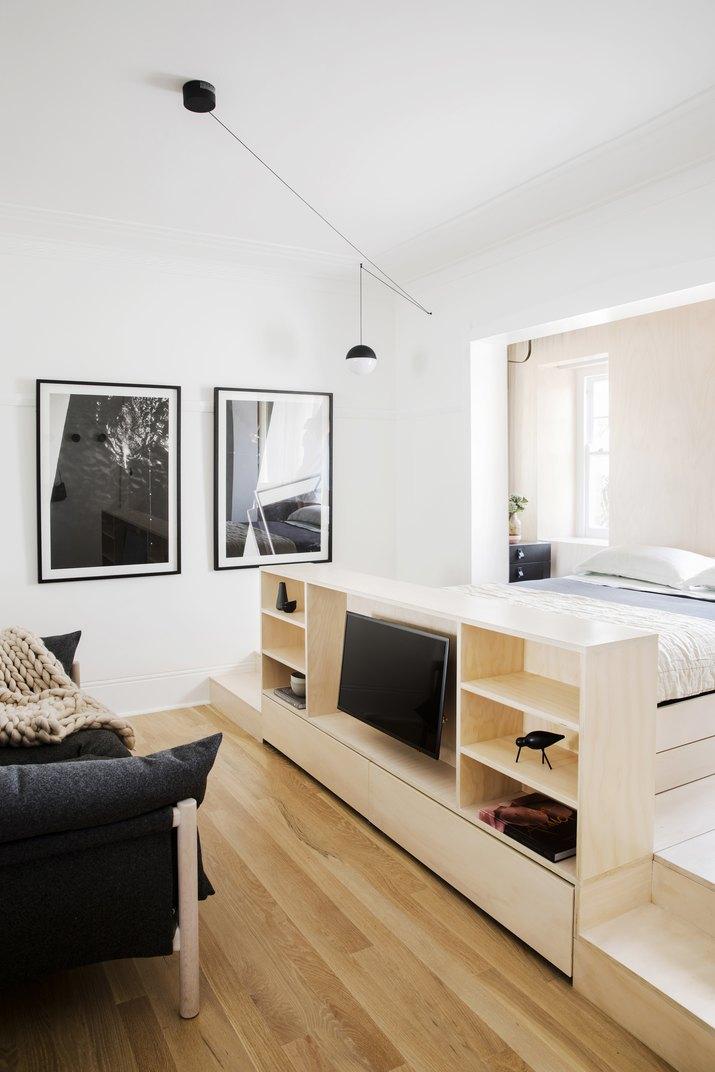studio apartment with storage bed