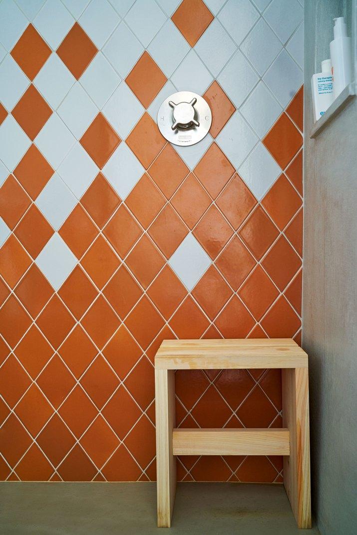 blue and orange bathroom tile