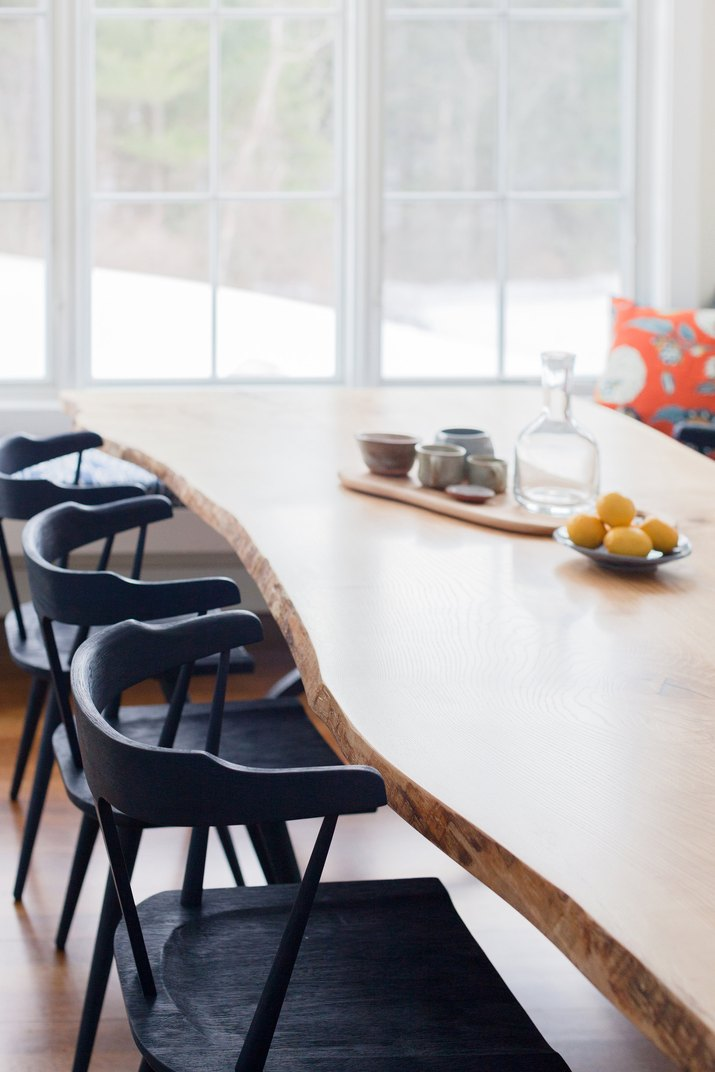 Dining table custom made from a wood slab